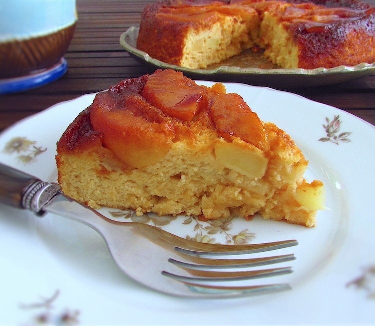 Slice of caramelized pippin apple cake on a plate