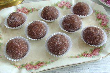 Chocolate balls on a platter
