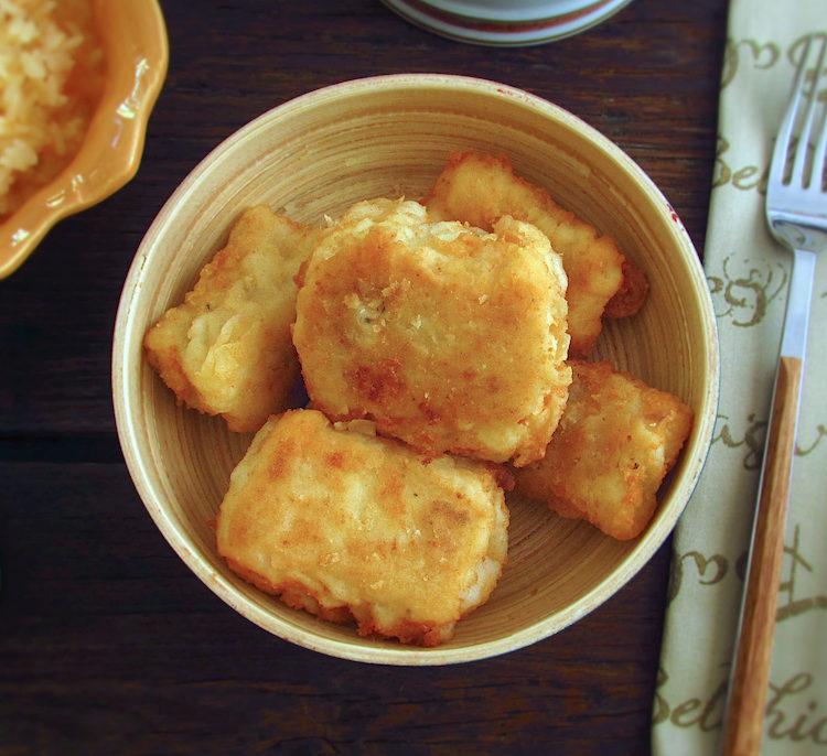 Cod fillets on a bowl