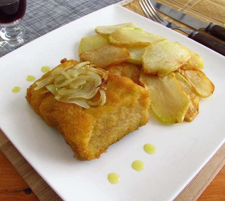 Cod with fries on a plate