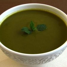Creamy spinach soup on a soup bowl
