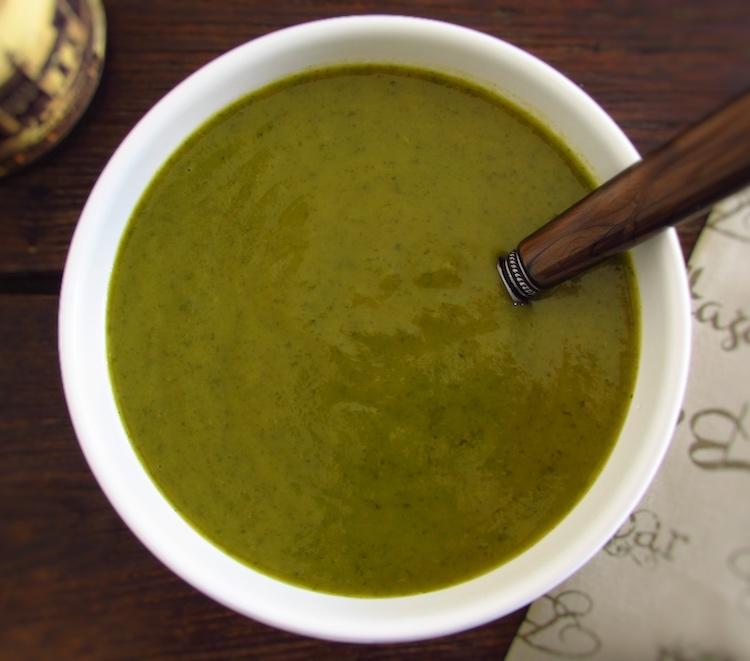 Creamy watercress soup on a soup bowl