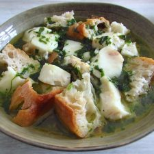 Fish bread soup on a dish