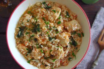 Fish rice on a dish bowl