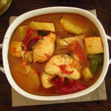 Fish stew on a tureen