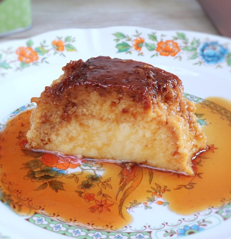 Flan slice on a plate