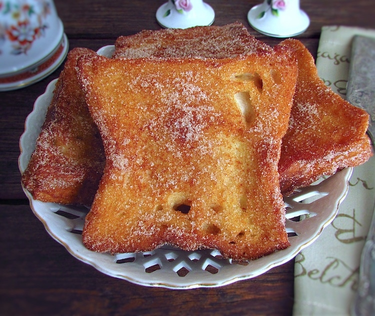 "French toast ""Portuguese style"" on a dish"
