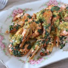 Fried shrimps with mustard on a platter