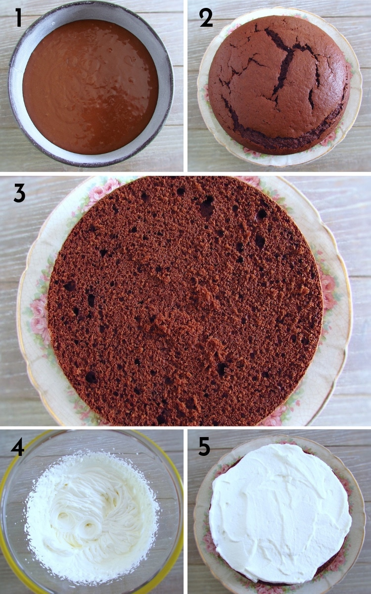 Homemade chocolate cake with chantilly steps