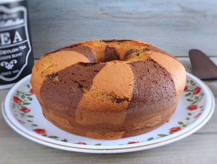Marble cake on a plate