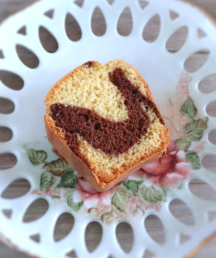 Marble cake slice on a plate