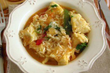 Monkfish rice on a dish bowl