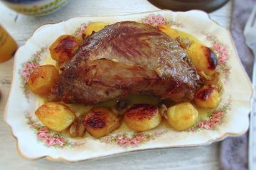 Roast veal with potatoes on a platter