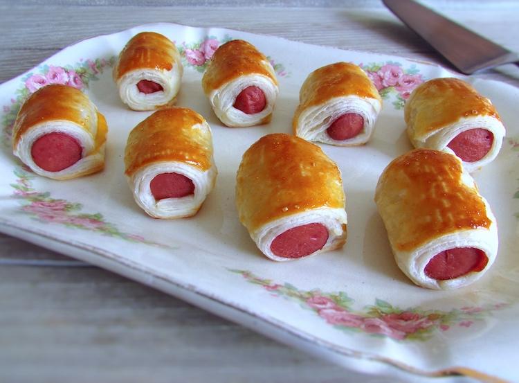 Sausage puffs on a platter