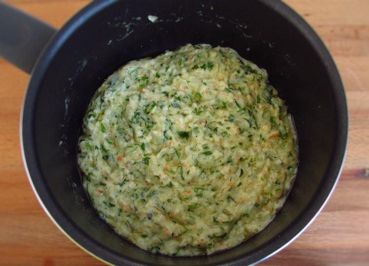 Shrimp mixture in a saucepan