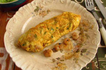 Shrimp omelet on a plate