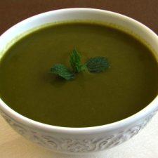 Sopa creme de espinafres numa tigela de sopa