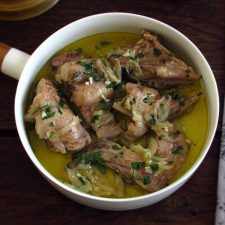 Stewed rabbit on a dish