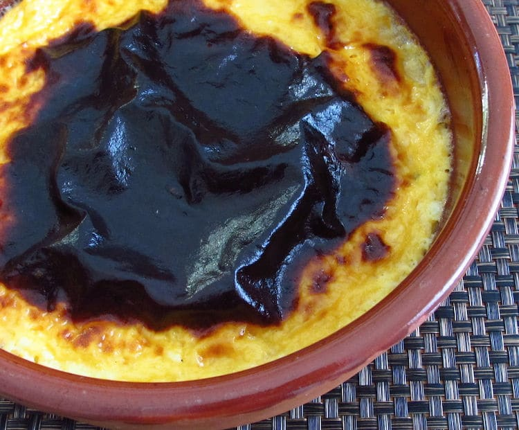 "Tigelada ""Portuguese sweet"" on a clay pan"