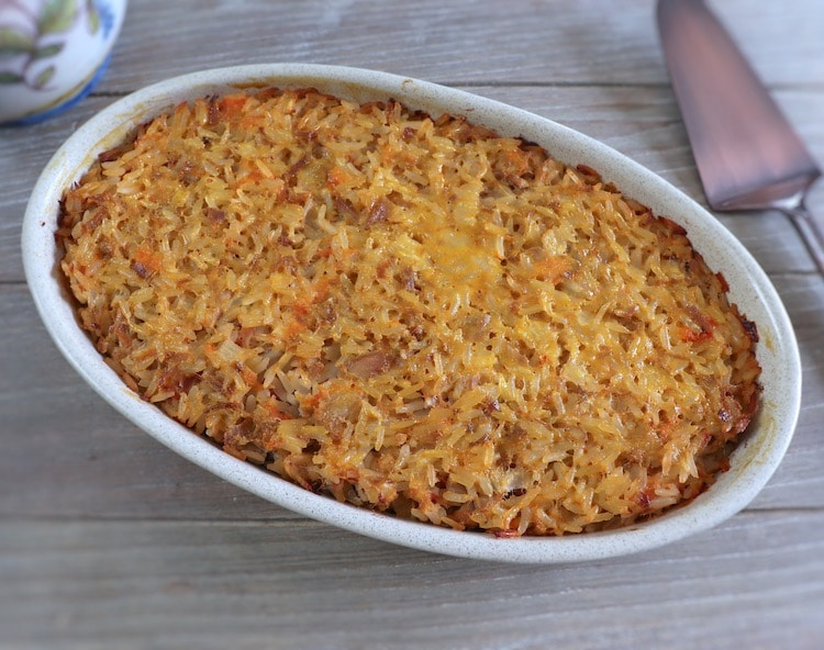 Tuna rice in the oven on a baking dish