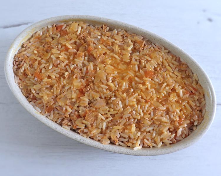 Tuna rice on a baking dish
