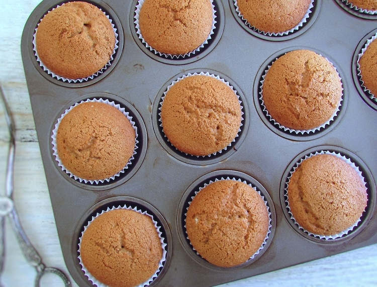 Cinnamon muffins on paper liners