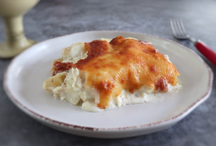 Cod with cream on a plate