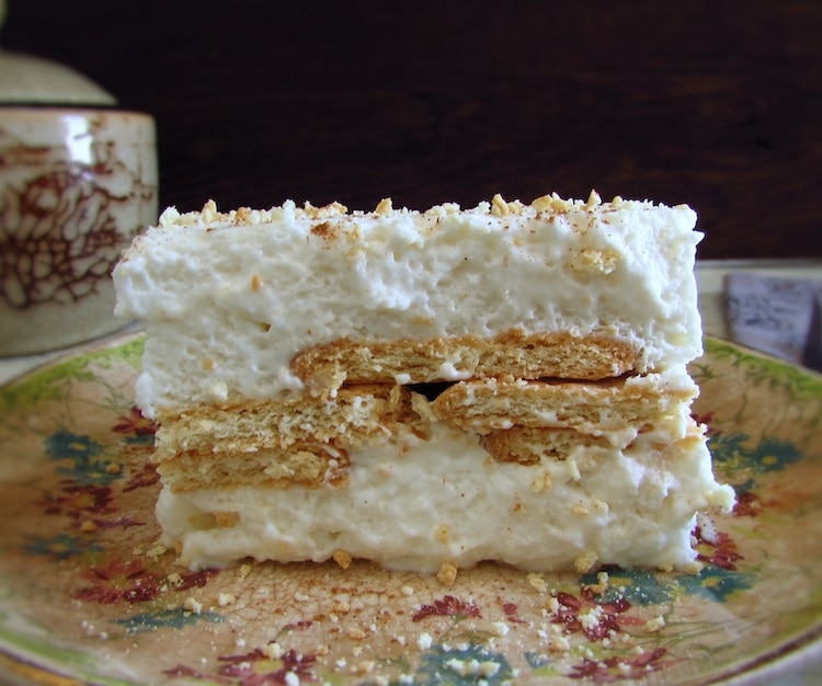 Marie biscuit semifreddo on a plate