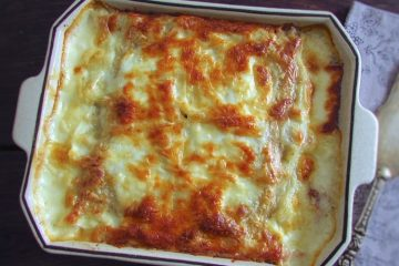 Meat lasagna on a baking dish