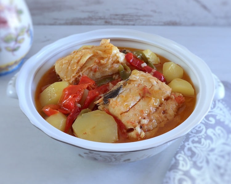 Cod stew on a tureen
