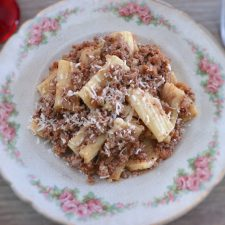 Minced meat with pasta on a plate