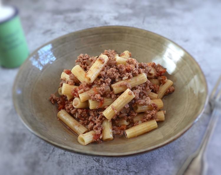 Simple ground meat pasta dish bowl