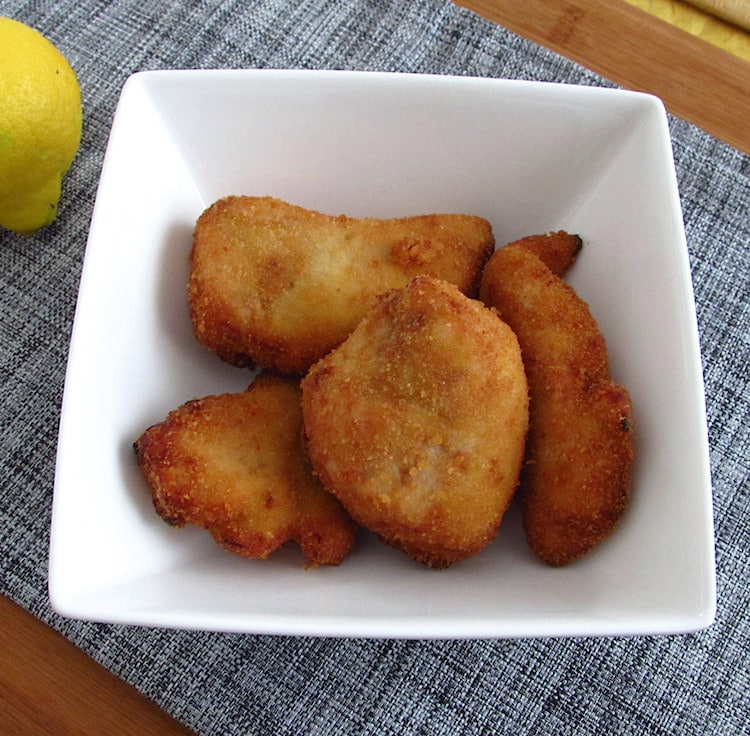 Breaded chicken on a dish bowl