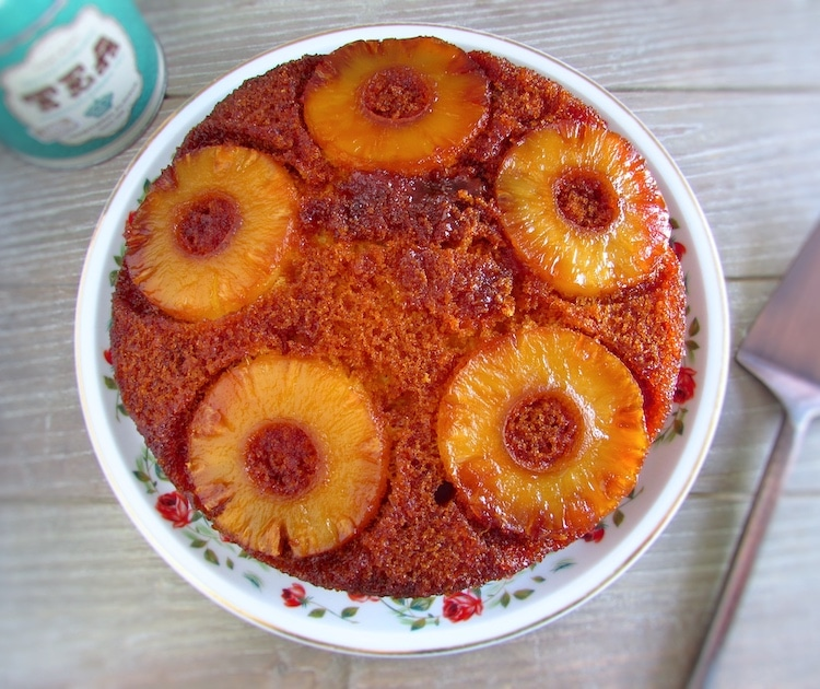 Caramelized pineapple cake on a plate