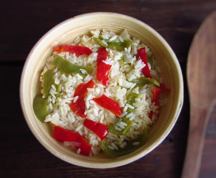 Rice with peppers on a bowl
