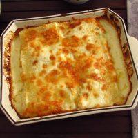 Cod lasagna on a baking dish