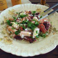 Octopus salad on a plate