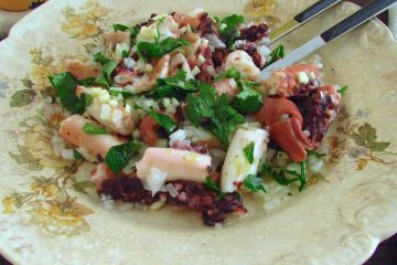 Octopus salad on a plate
