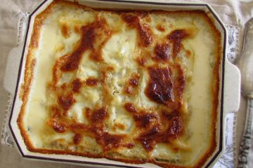Tuna lasagna on a baking dish