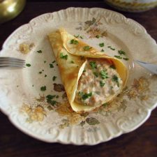Crepe with tuna on a plate