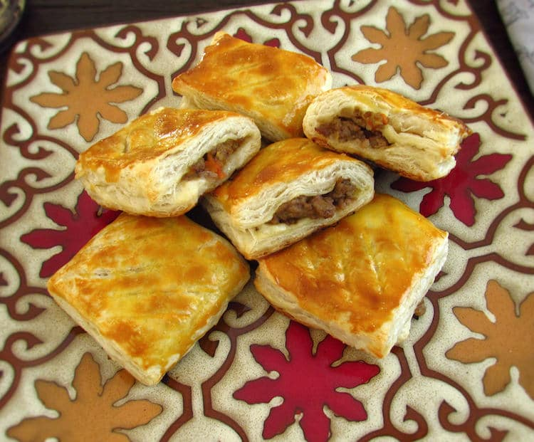 Meat puffs on a plate