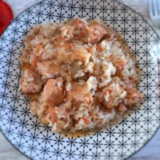 Salmon stew with rice on a plate