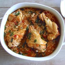Stewed chicken with rice on a tureen