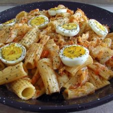 Cod with pasta and egg