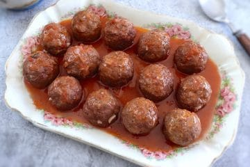 Meatballs in tomato sauce on a platter