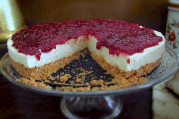 Raspberry cheesecake on a dish