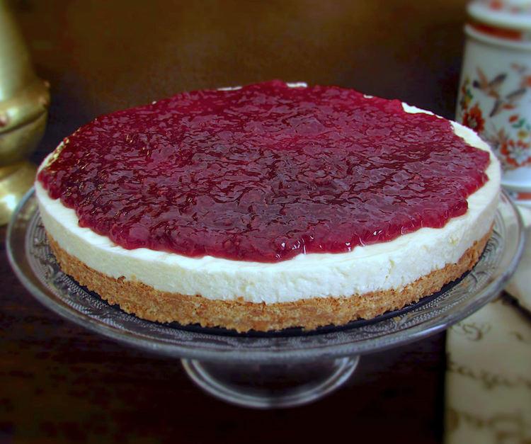 Raspberry cheesecake on a dish