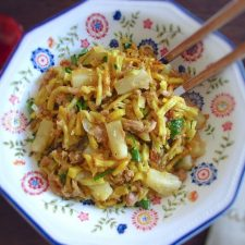 "Tuna ""à Brás"" with pineapple on a dish bowl"