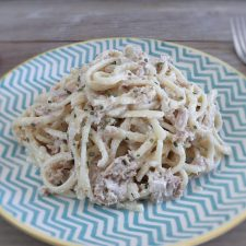 Tuna with cream on a plate