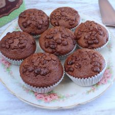 Chocolate muffins on a plate